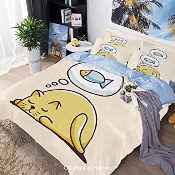 MAG Family Bed Set 3PC Twin Size Yellow Color Cartoon Characters Bedding Sheet Sets