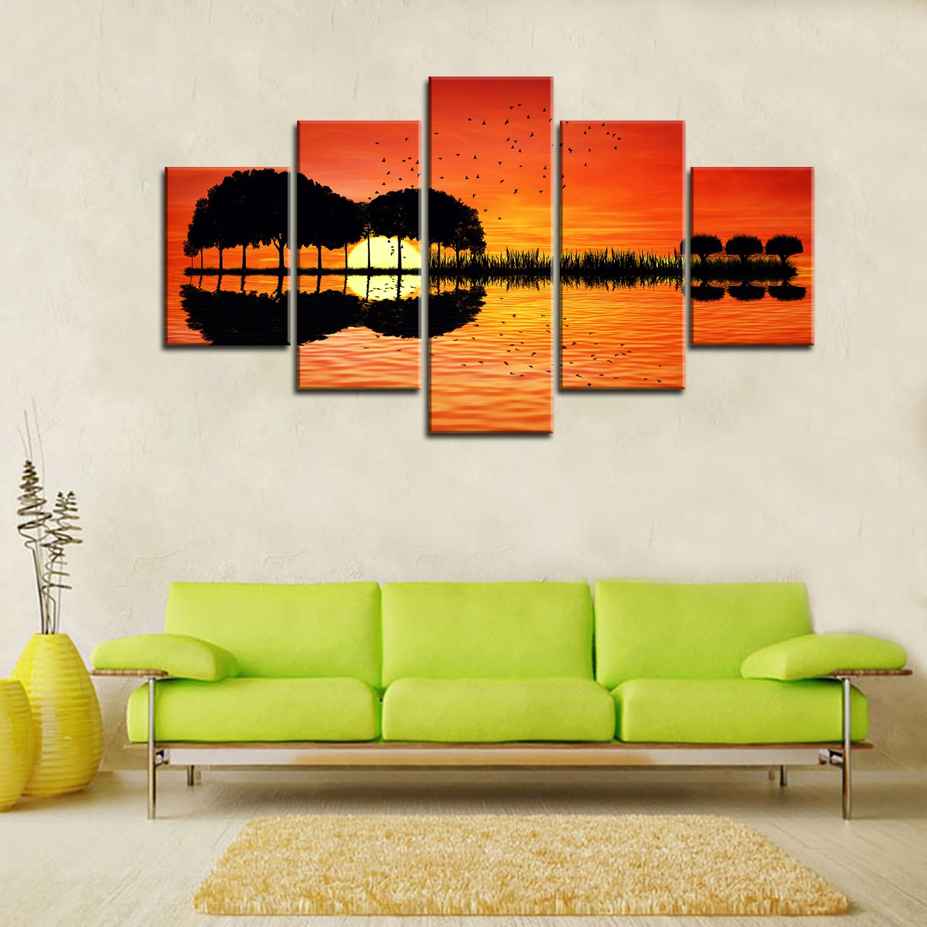 Amazon Com Music Wall Art Abstract Guitar Tree Orange Canvas Prints