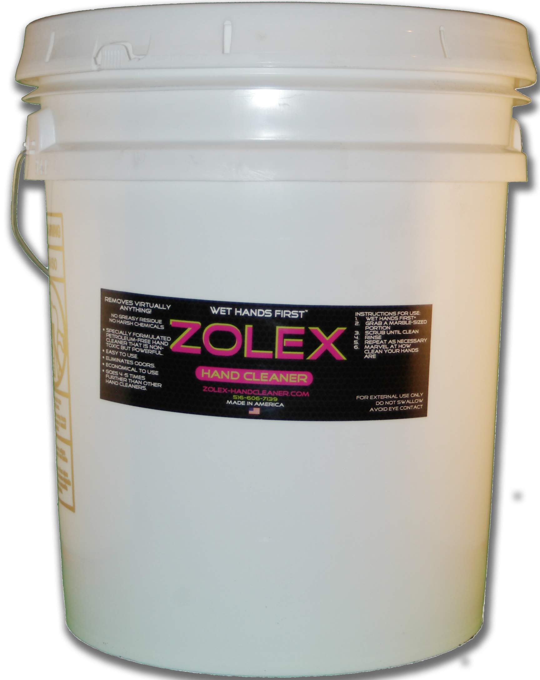 Zolex Water Activated Hand Cleaner for Working Hands| Stain Remover for Heavy Duty Workers | Grease Remover for Auto Mechanics - Non-Toxic Petroleum Free | Commercial-Sized Pail (25 lb) by Zolex (Image #1)
