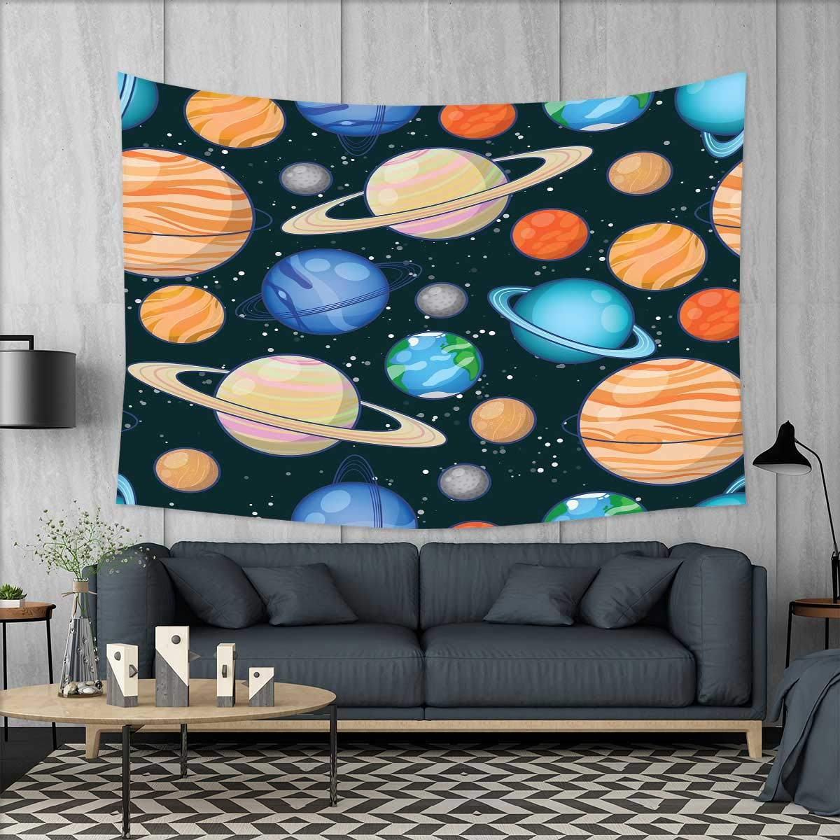 smallbeefly Galaxy Tapestry Table Cover Bedspread Beach Towel Cute Galaxy Space Art Solar System Planets Mars Mercury Uranus Jupiter Venus Kids Print Dorm Decor 71''x60'' Multi