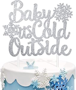 Silver Glitter Baby Its Cold Outside Cake Topper Snowflakes Baby Shower Winter Gender Reveal Party Centerpieces Double-Sided Cutout Decoration Supplies