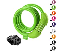 Titanker Bike Lock, Bike Locks Cable 4 Feet Coiled Secure Resettable Combination Bike Cable Lock with Mounting Bracket, 1/2 I