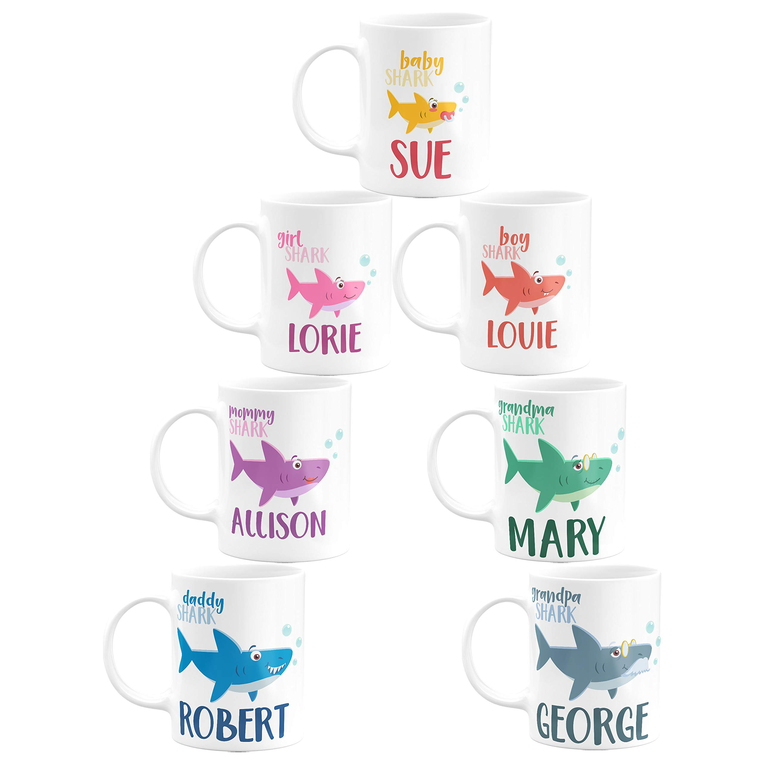 Personalized Birthday Gifts Shark Family Coffee Mug with Your Names - 11oz & 15oz Large Cups with Matching Coasters - Birthday Gifts, Christmas Gifts, Mother's Day Gifts - Sharks Set of 7