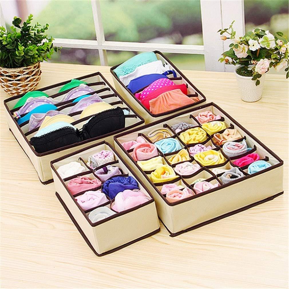 VADOLY Foldable Storage Box Bra 6/7/8/12/24 Grids Non-Woven Fabric Wardrobe Organizer for Underwear Socks