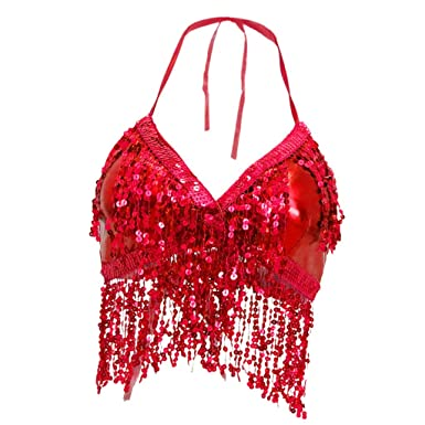 ce4bbc643a7 IPOTCH Womens Glitter Sequin Tassel Halter Crop Top Latin Belly Dance Bra Top  Red: Amazon.co.uk: Clothing