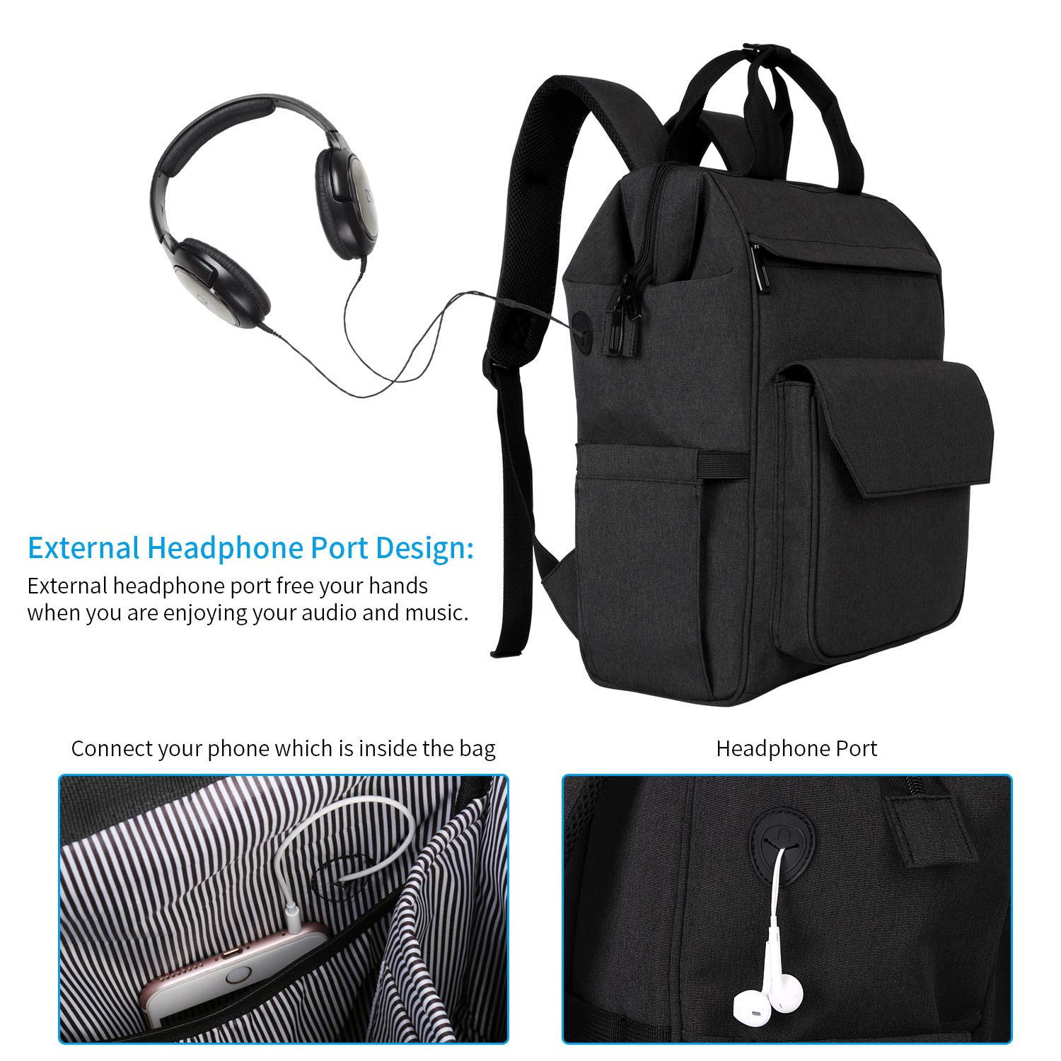 Zpoint 7652 Large Business Travel Backpack, Durable Functional Water Resistant, School College Commuting Bag with Headphones Port Luggage Strap 15.6 \