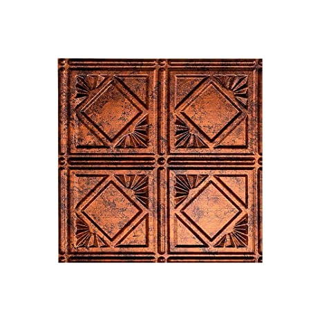 Fasade Easy Installation Traditional 4 Moonstone Copper Lay In Ceiling Tile Ceiling Panel 12 X 12 Sample