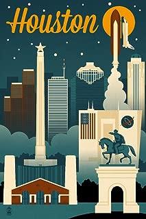 product image for Houston, Texas - Retro Skyline 66934 (24x36 SIGNED Print Master Art Print - Wall Decor Poster)