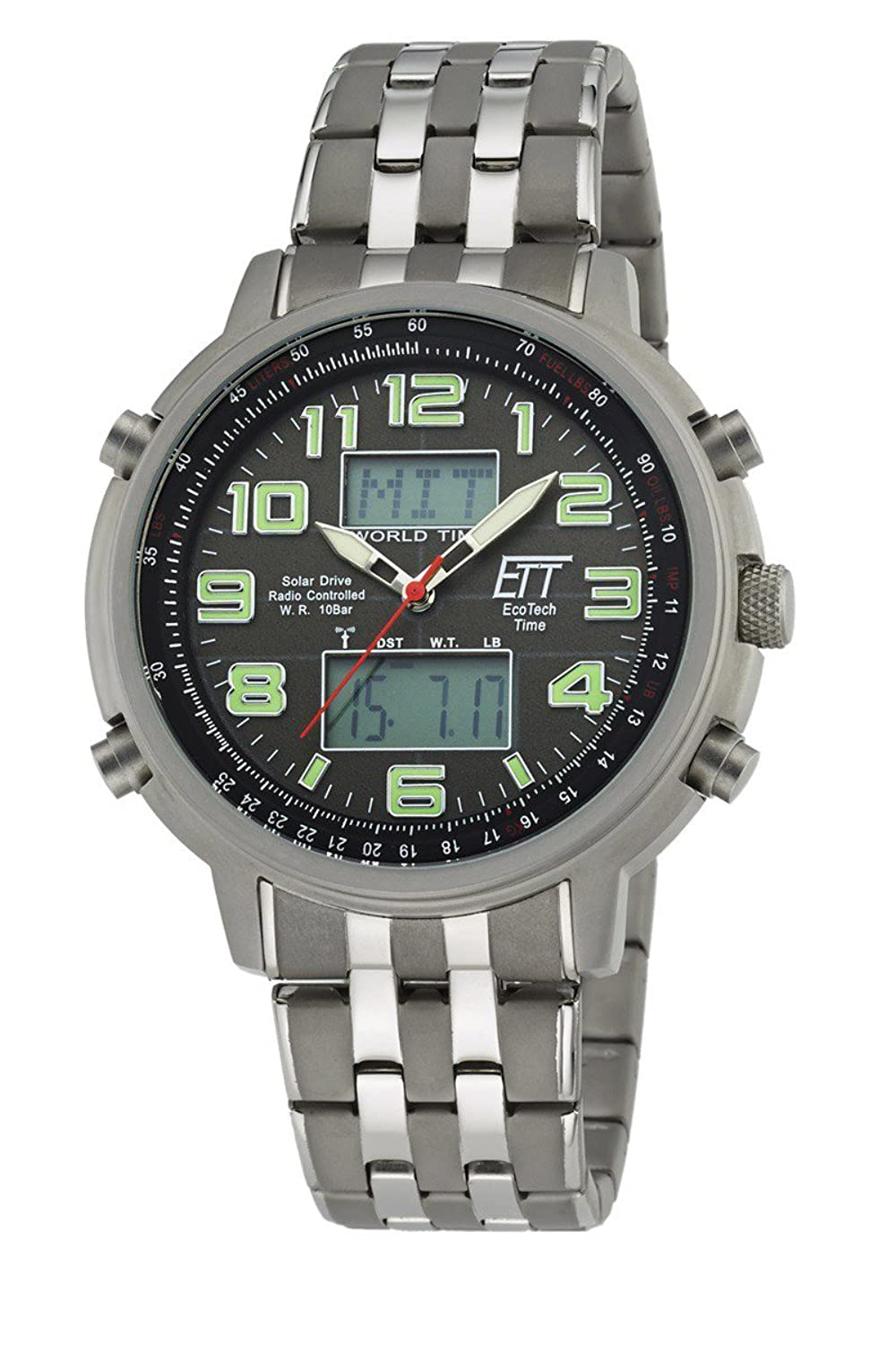 Eco Tech Time Solar Drive Funk Herrenuhr Hunter II EGS-11302-22M World Timer