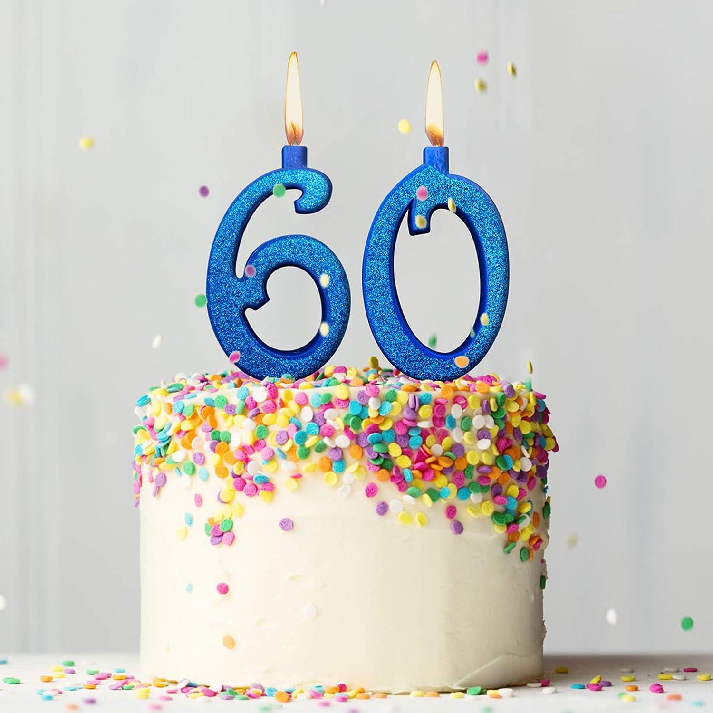 Party Co Candeline Per Torta 60 Anni Festa Di Compleanno Auguri Ideale Per Uomo E Donna 12 Cm Blu Glitter