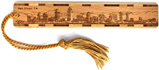 product image for San Diego, California Skyline - Engraved Wooden Bookmark with Tassel - Also Available Personalized