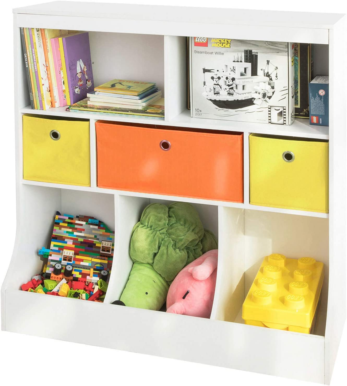SoBuy® KMB26-W, Children Kids Bookcase Book Shelf Toy Storage Unit Storage Display Shelf Organizer with Fabric Drawers
