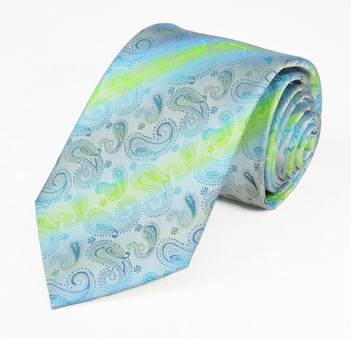 100/% Silk Tie and Pocket Square Aqua Paisleys