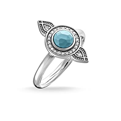 5c1f551d1 Thomas Sabo Women Ring TR2090-646-17 Ring Ethno Dreamcatcher 925 Sterling  Silver, Blackened Zirconia Pavé White, Simulated Turquoise Silver-Coloured,  ...