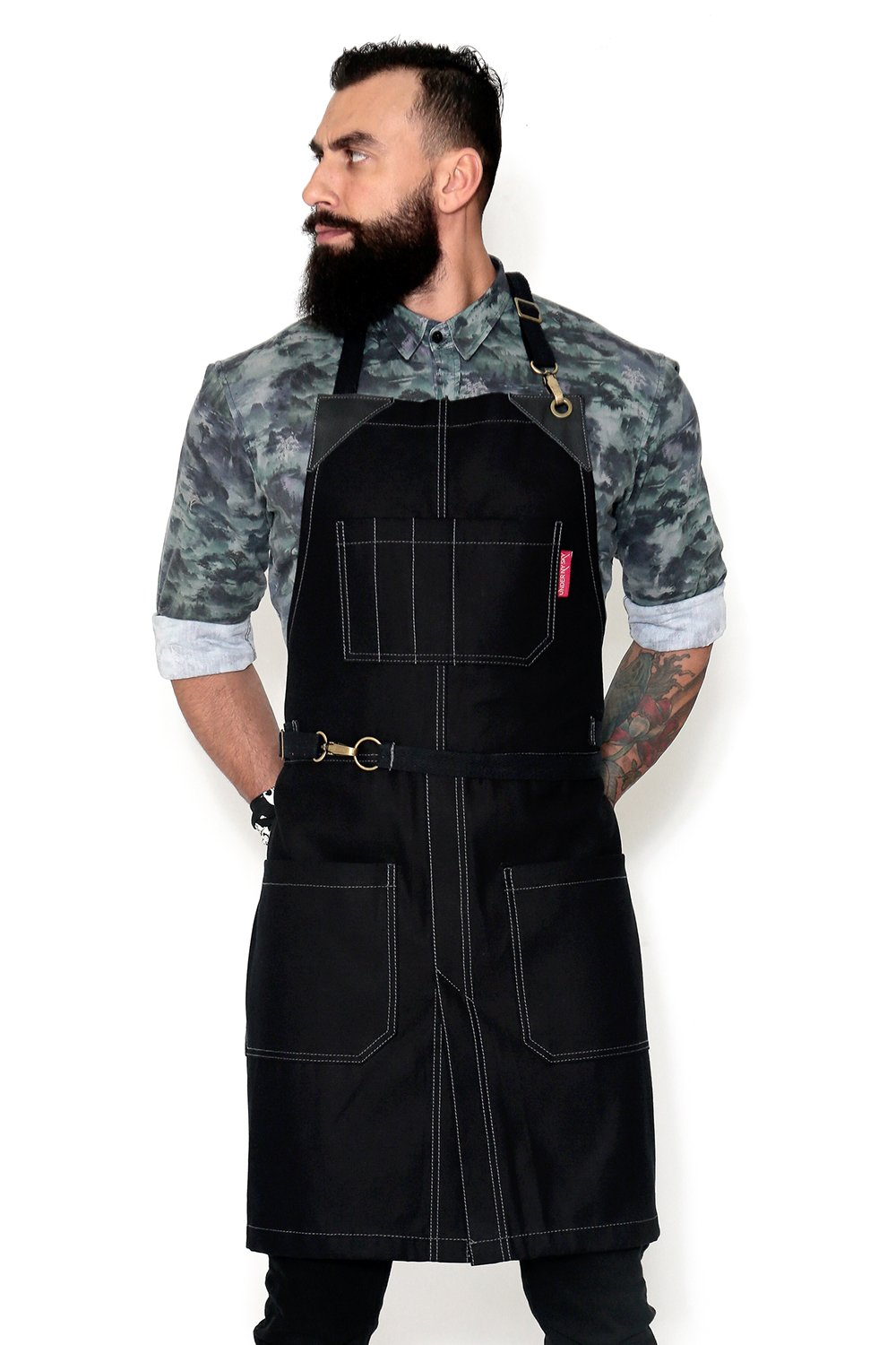 Under NY Sky No-Tie Apron - Opaque Black Twill - Black Leather - Towel Loop and Split-Leg by Under NY Sky