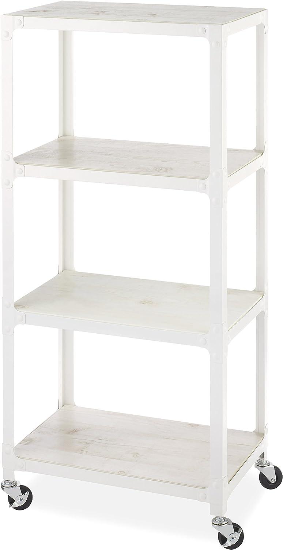 Whitmor 4-Tier Metal & Wood Cart-White