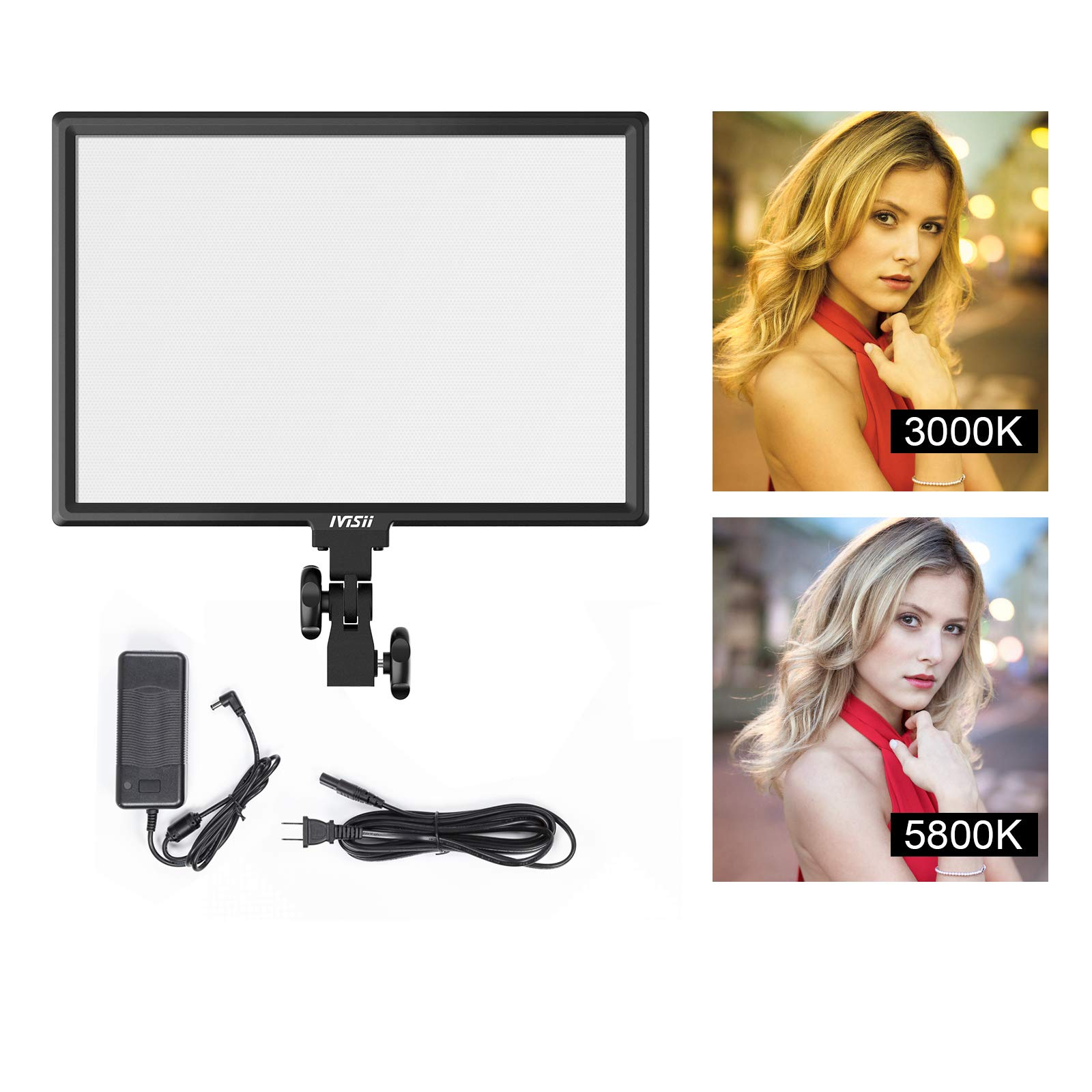 LED Video Light Panel - Bi-Color 3000K-5800K 45W Dimmable LED Panel Canon Nikon Pentax Camera Camcorder Studio Shooting (with Power Adapter) by IVISII