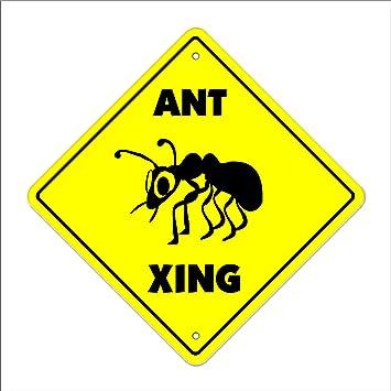 amazon ant crossing sign zone xing 室内 屋外用 高さ14インチ レッド