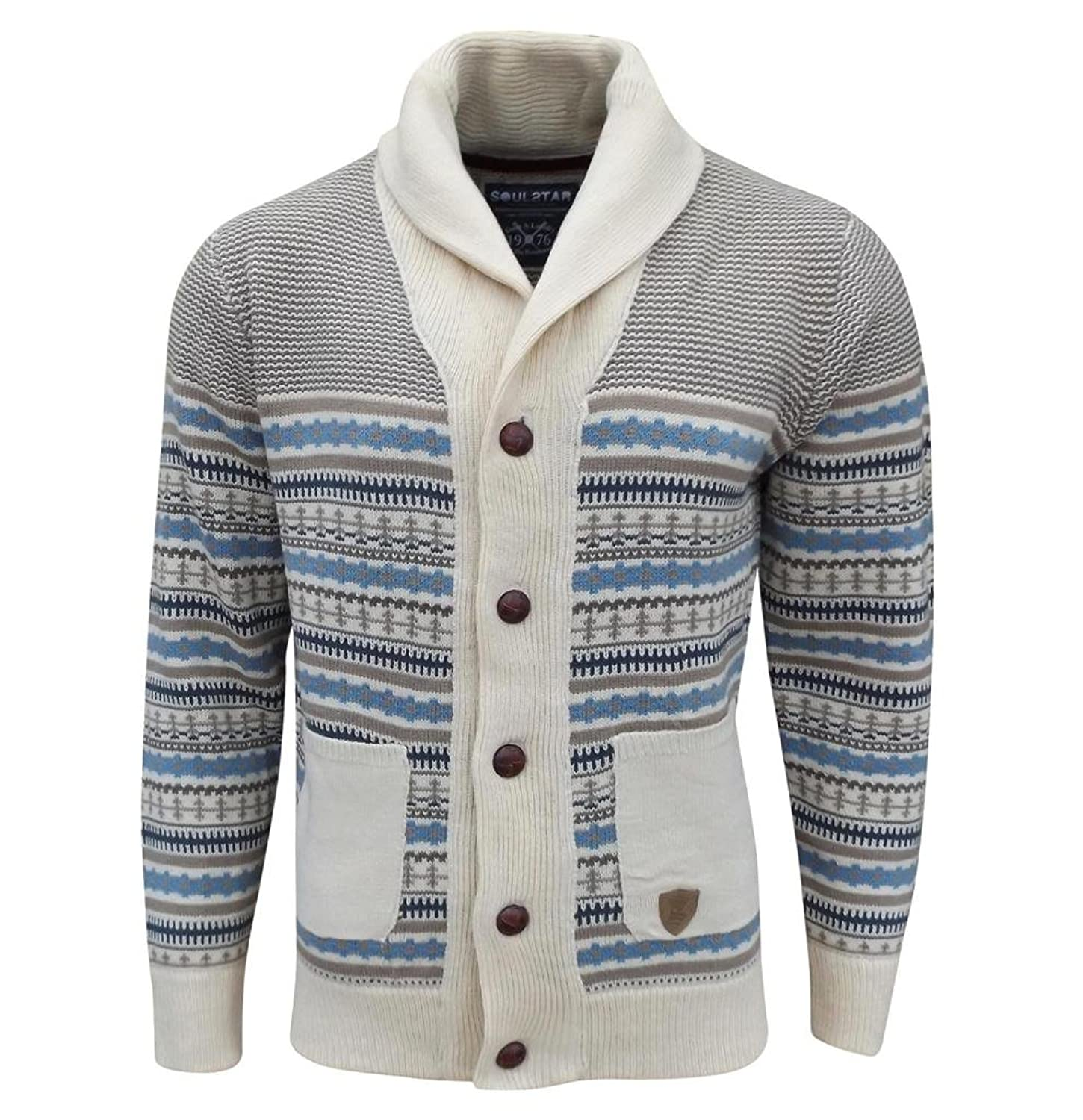 Soul Star Men's Stifler Nordic Striped Knitted Cardigan Sand