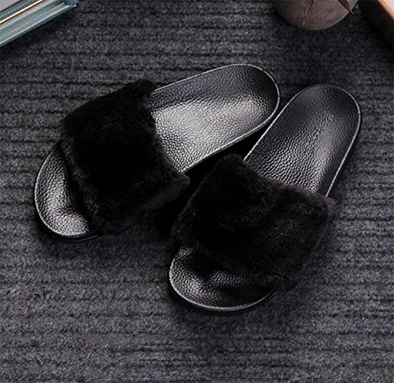 KKLL Flip flop de peluche Fondo grueso ? palabra sandalias de algodón Ms casa negro gris rosa rojo blanco , white , 39
