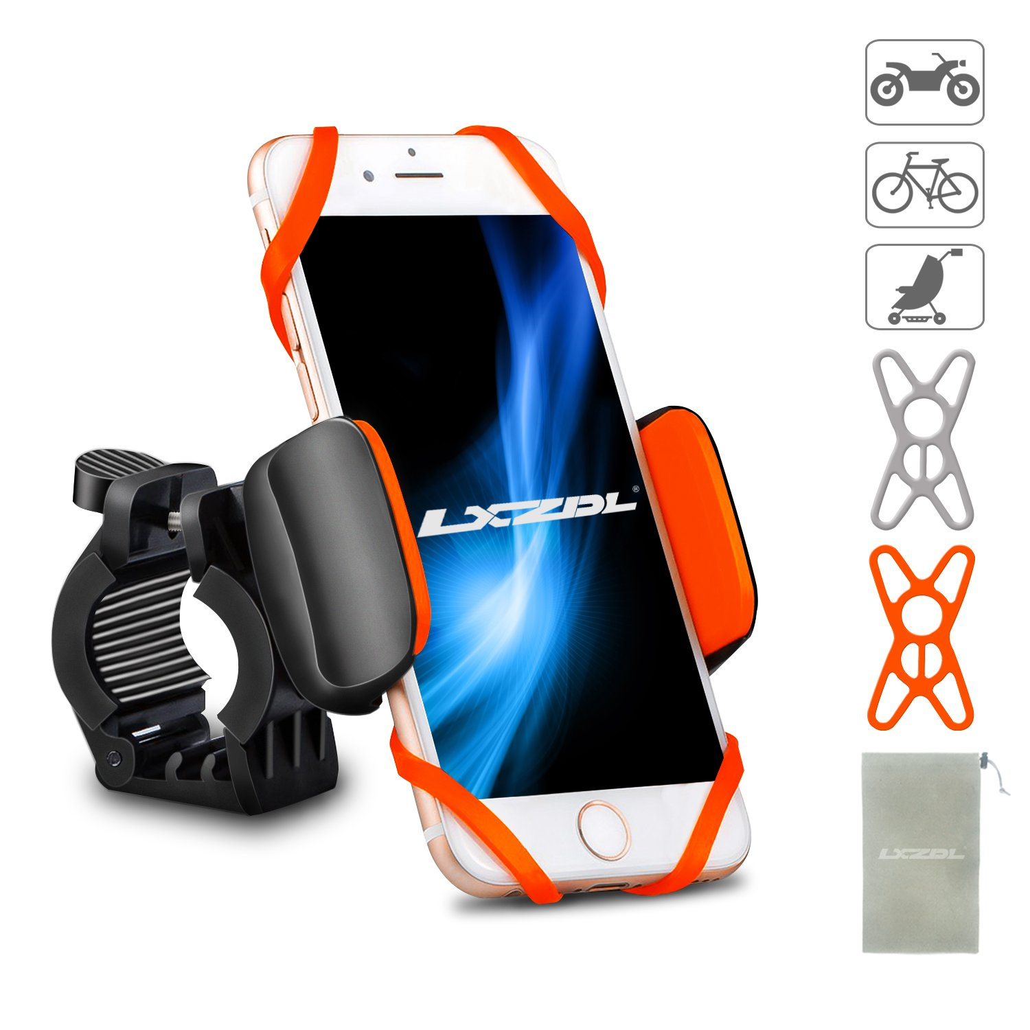 """LXZDL Bike Phone Mount Bicycle Holder, Universal Phone Bicycle Rack Handlebar/Motorcycle Holder Cradle for iPhone, Android Phone, Boating GPS, 360 Degrees Rotatable, Holds Phones Up To 3.5"""" Wide"""