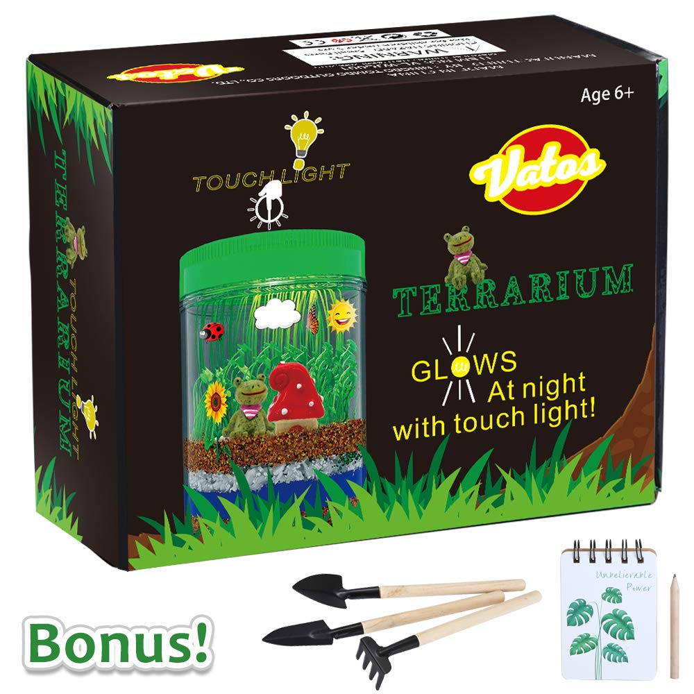 VATOS Terrarium Kit for Kids Light-up Kits with LED Grow Light, Growing Kits in a Jar for Kids Boys & Girls Gifts for Ages 3 -12   STEM Science Toys Planting Ecosystem Kits, Kids Educational Toys