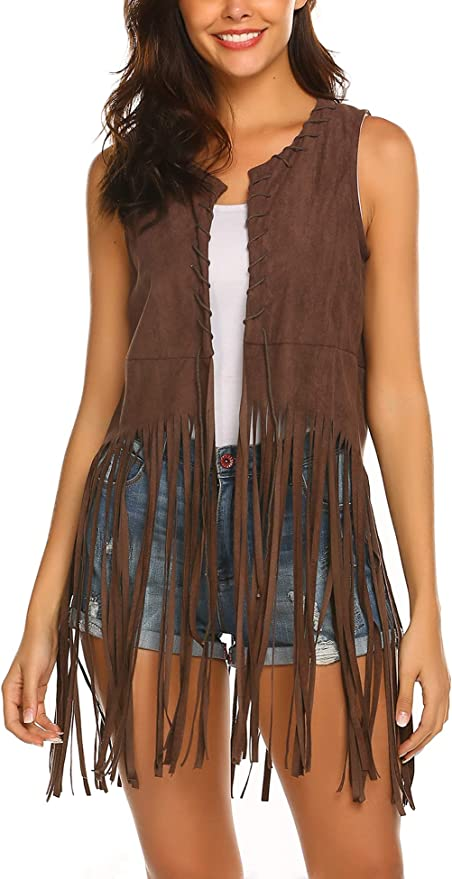 60s Shirts, T-shirts, Blouses, Hippie Shirts Hotouch Women Fringe Vest Faux Suede Tassels 70s Hippie Clothes Open-Front Sleeveless Vest Cardigan Female $26.99 AT vintagedancer.com