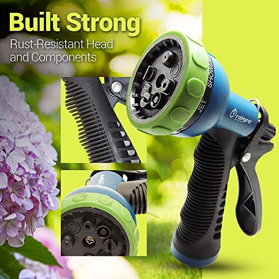 Amazon.com : Raigro 8-Pattern Pull-Trigger Lawn and Garden Hose Spray Nozzle with Adjustable Flow : Garden & Outdoor