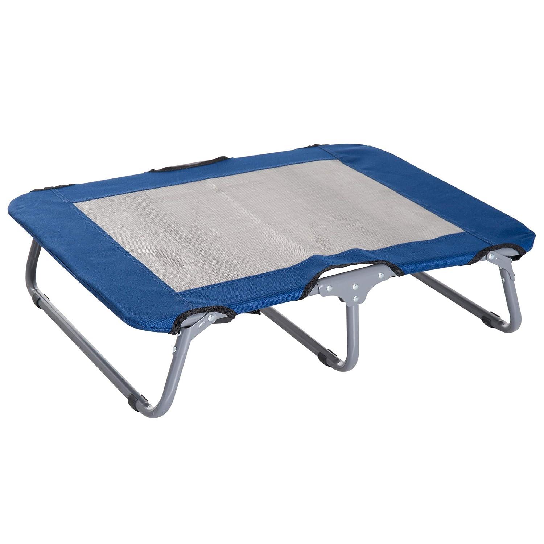 Pawhut Lit sur Pieds lit de Camp Grand Confort Pliable pour Chien Chat 71L x 58l x 18H cm Acier Tissu Oxford 600D Acier Bleu 04BU
