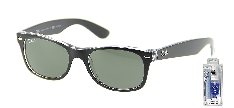 8ae4373f774 Amazon.com  Ray Ban RB2132 605258 55mm Black Polar New Wayfarer Sunglasses  Bundle - 2 Items  Shoes