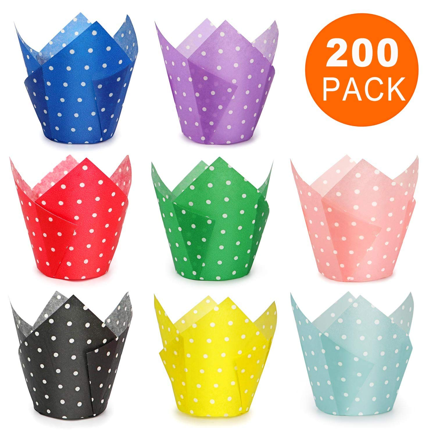 Tulip Cupcake Liners, 200 Pcs 8 Colors Polka Dot Baking Cups, HULISEN Premium Greaseproof Paper, Muffin Liners for Wedding, Baby Showers, Party, Standard Size- Bottom Diameter 2 inch, Gift Package