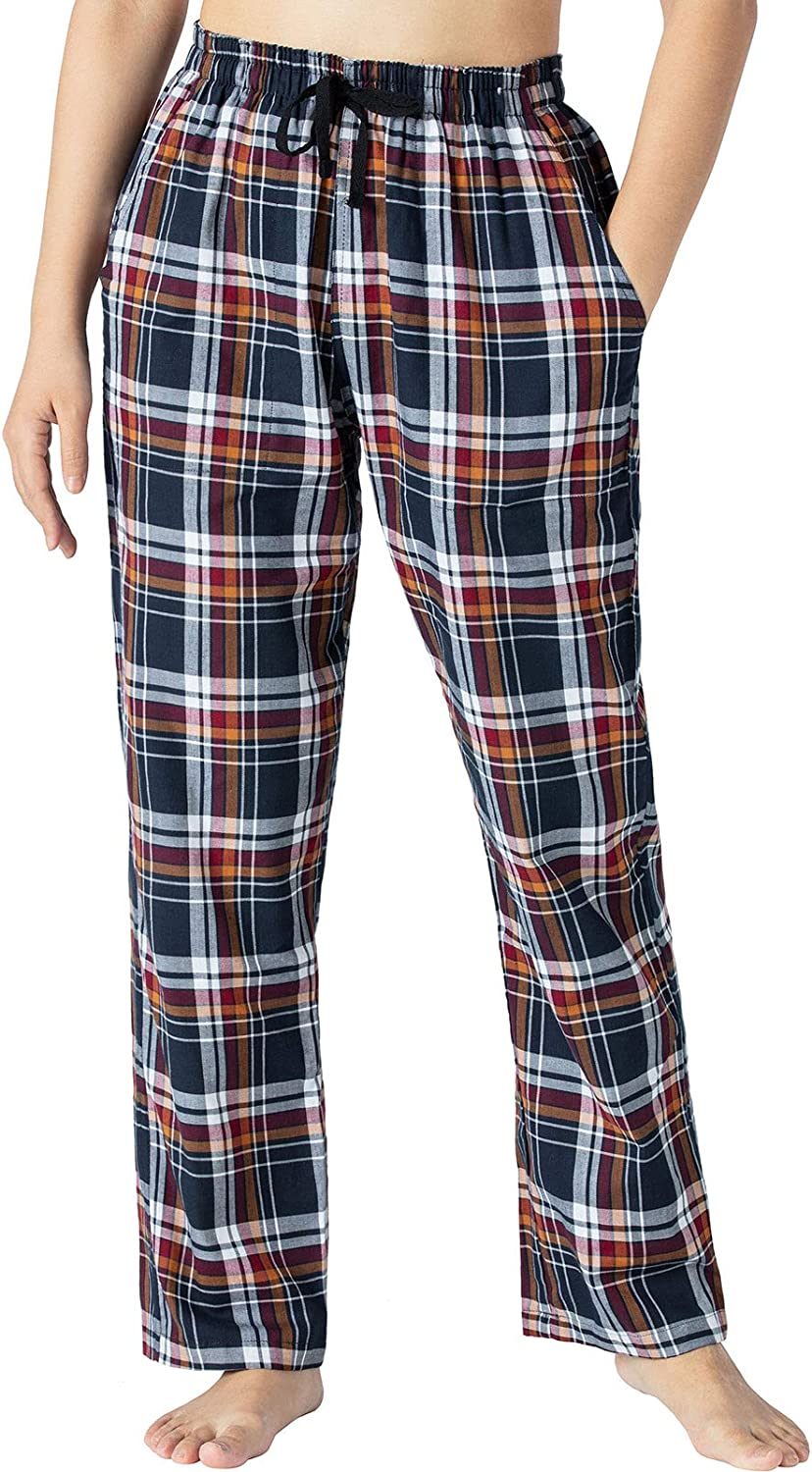 AIRIKE Women's Fleece Lounge Pajama Pants Soft Plaid Woven Sleep Pants Cotton PJ Bottoms with Pockets and Drawstring at  Women's Clothing store