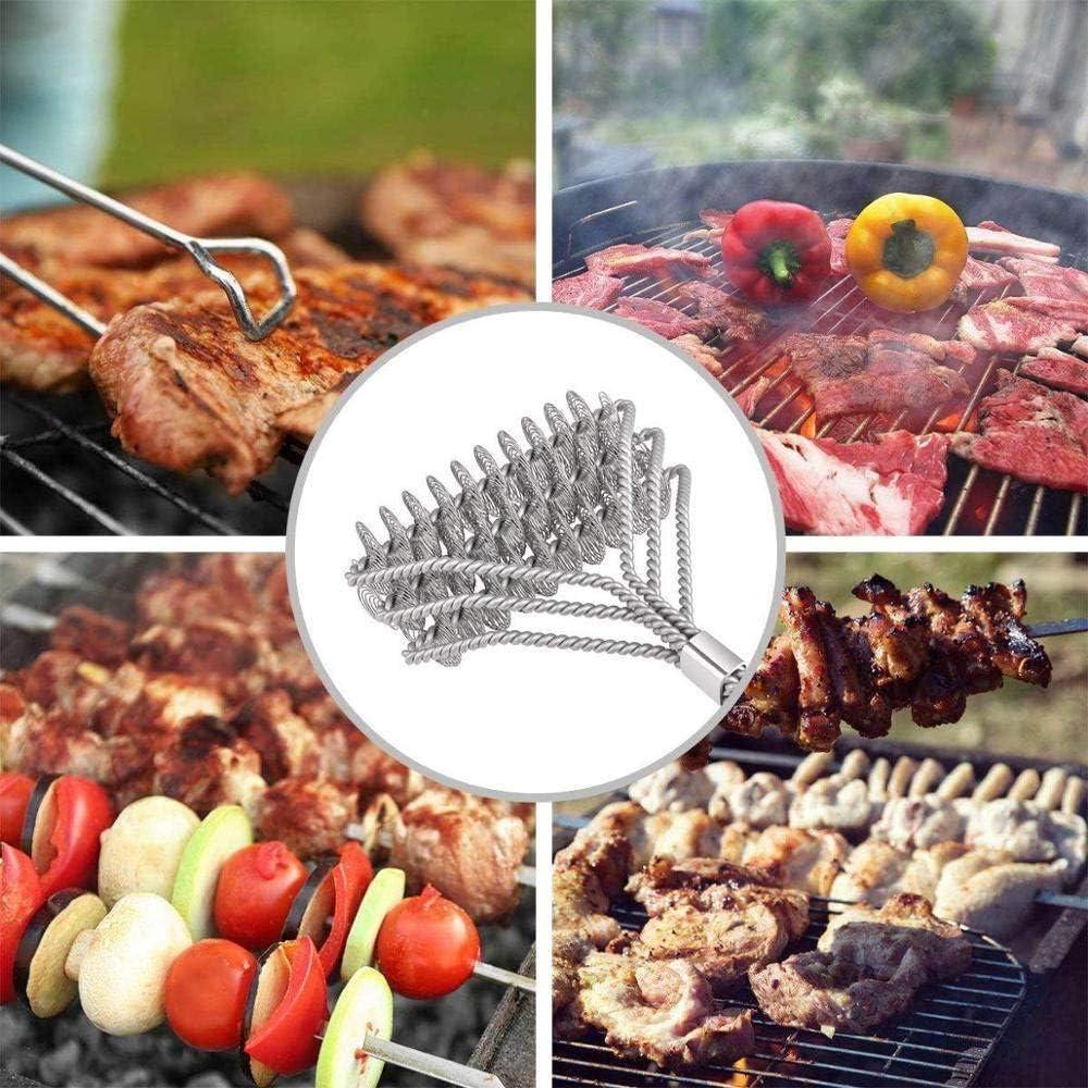 LJQLXJ BBQ Griglia per barbecue Spazzola per barbecue Utensile pulito Setole in filo di acciaio inossidabile Spazzole antiaderenti con manico, b Un