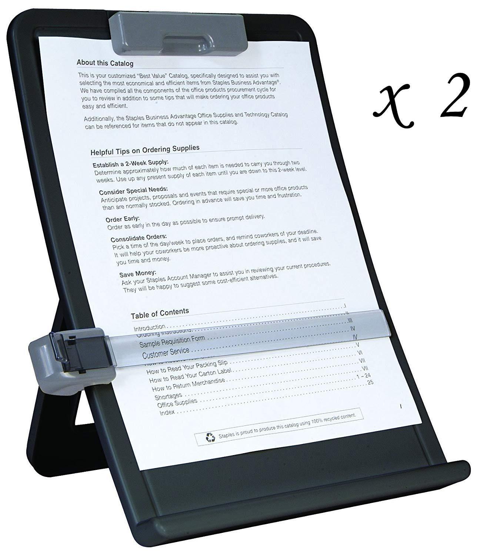 2 Staples Curved Desktop Copy Holders #35078