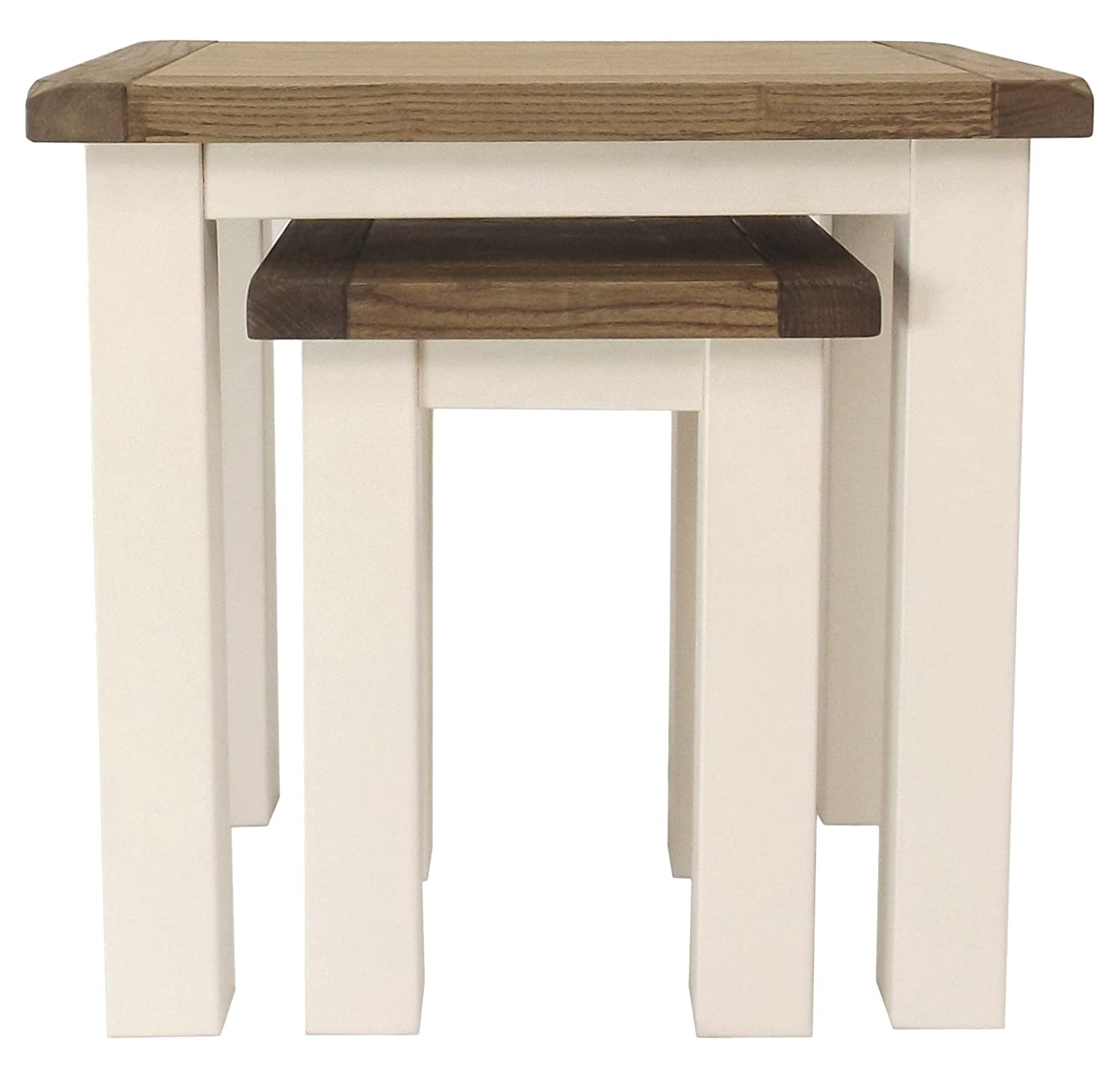 Cabinet Bits Nest of 2 Tables, Wood, White FNSC307