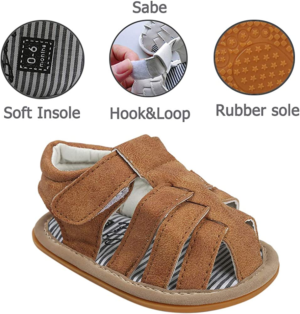 Sabe Infant Baby Boys T-Tied Casual Sandals Soft Sole Anti-Slip Dress Pram Shoes