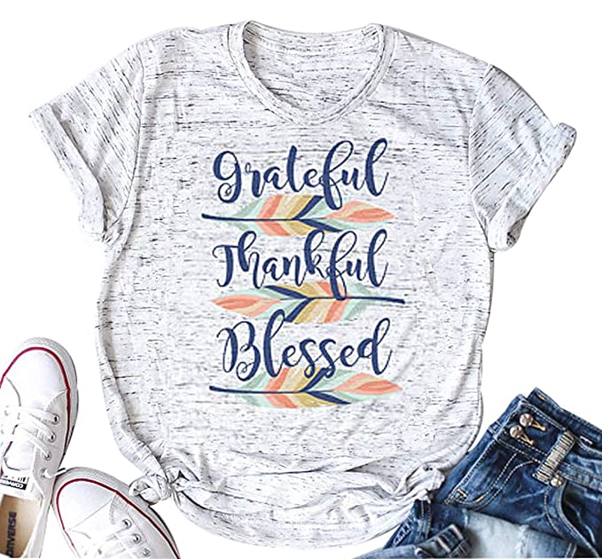 65b97dd665d DUTUT Grateful Thankful Blessed Feather T-Shirt Womens Funny Thanksgiving  Graphic Tee Fall Tops Size