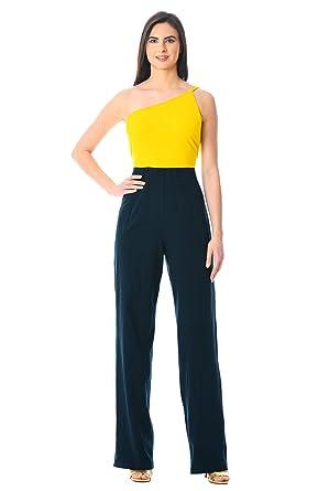 18900e849cf9 eShakti Women s One-shoulder colorblock cotton knit jumpsuit UK Size  38W Tall height Yellow