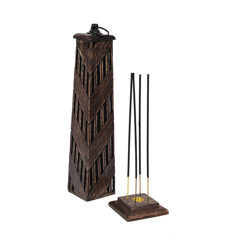 storeindya Incense Holder and Burners Wooden Incense Stick Tower Handmade Burner Stand Holder (Brown 1)