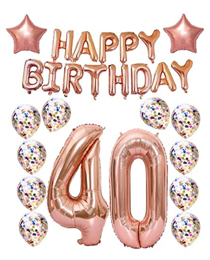 40th Birthday Decorations Party Supplies40th Balloons Rose GoldRose Gold Hang Happy