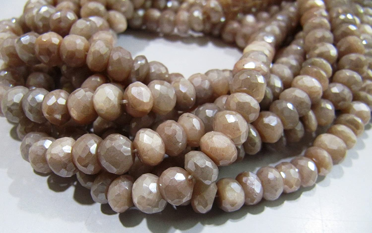moonstone faceted 6mm-7mm AAA Peach moonstone faceted rondelle loose gemstone beads 8inch strand