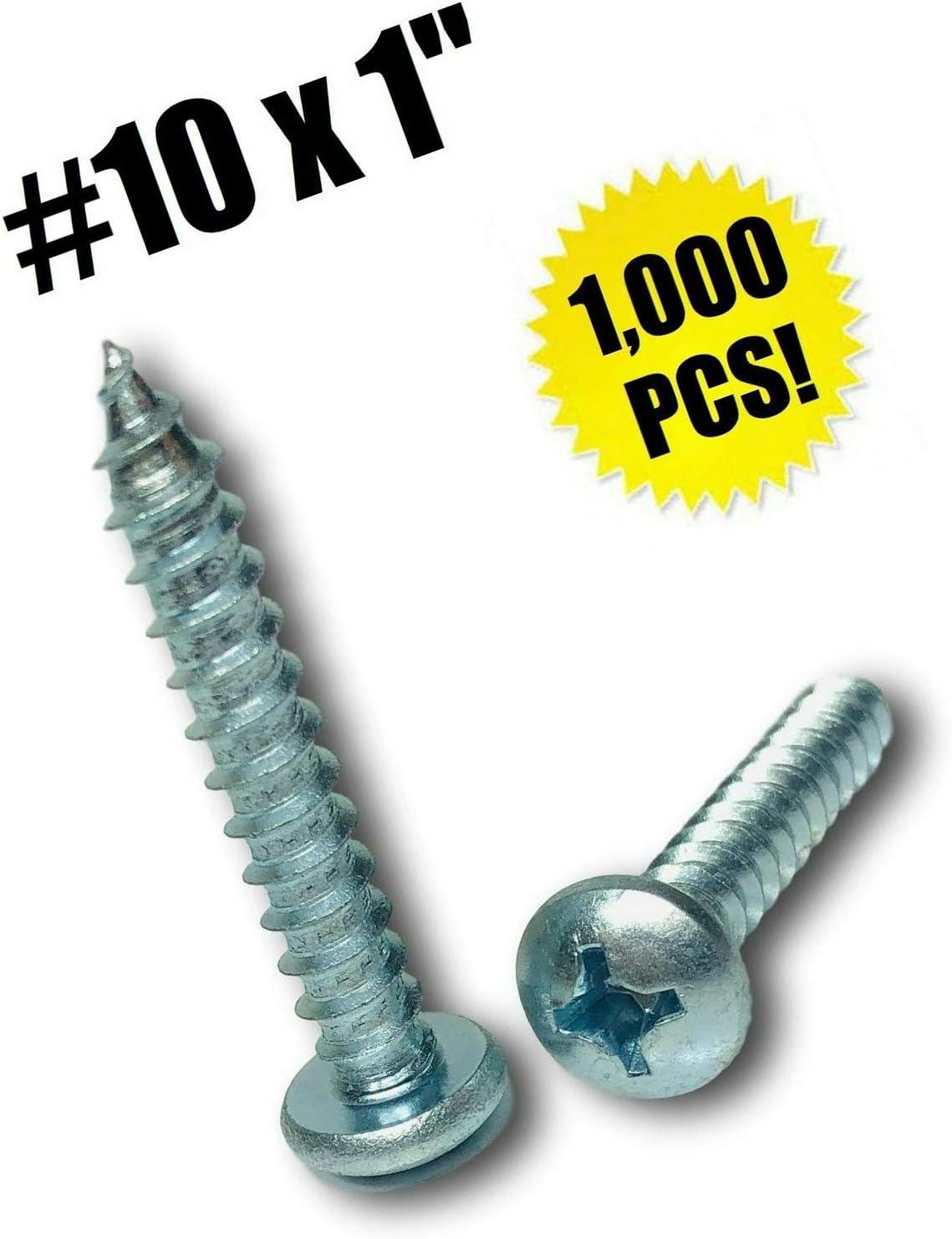 "#10 X 1"" Phillips Pan Kopf Sheet Metal Screw Zinc Plated (Qty 1000) Grade Metric Hardware Fastener Kit"