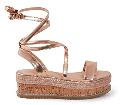 04a787cabf2 shelikes Womens Ladies Flat Wedge Espadrille Lace Tie Up Sandals Platform  Summer Shoes