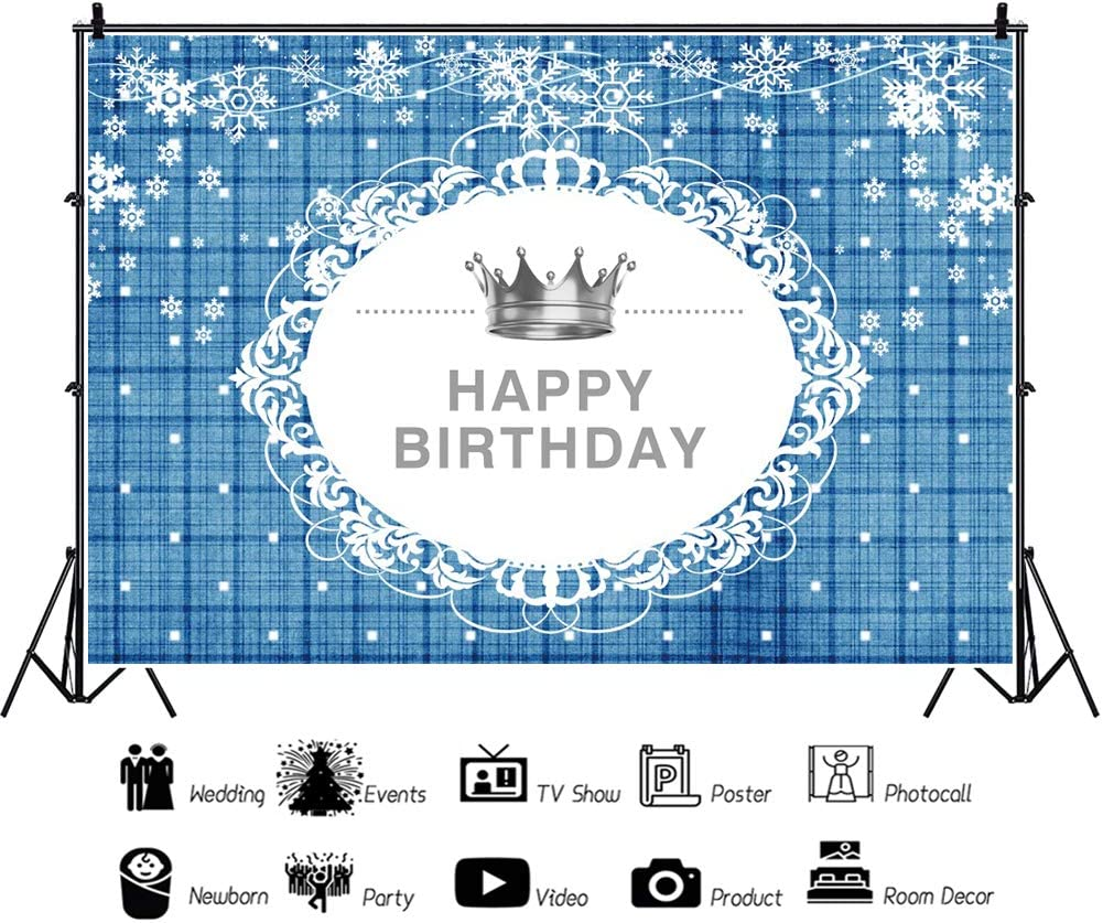 YEELE Royal Birthday Backdrop 10x8ft Silver Crown and White Snowflake on Blue Photography Background Kids Birthday Party Table Decoration Baby Kids Adults Photos Photobooth Props Digital Wallpaper