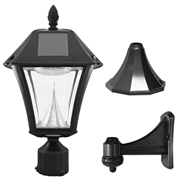 Gama Sonic GS-105FPW-BW Baytown II, Outdoor Solar Light and 3  Pole Pier & Wall Mount Kits, Lamp Only Only, Bright White LED, Black