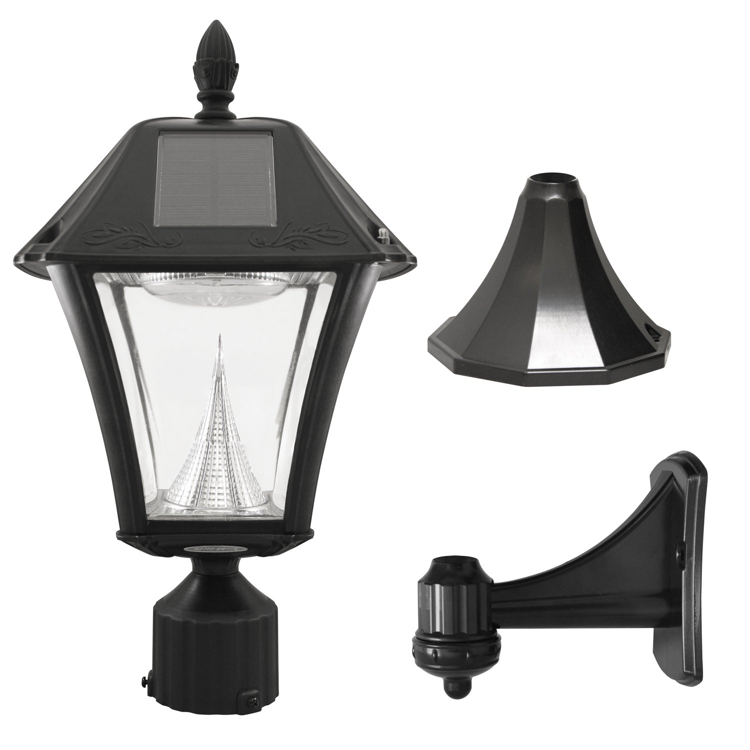 Gama Sonic Baytown II Solar Outdoor Lamp with Bright-White LEDs - Pole/Pier/Wall Mount Kit - Black Finish