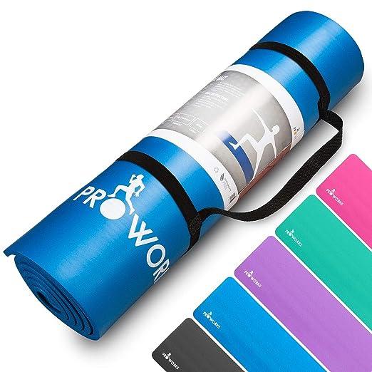 Proworks Große Premium Yogamatte Gepolstert & Rutschfest für Fitness Pilates & Gymnastik mit Tragegurt - Schwarz / Blau / Lil