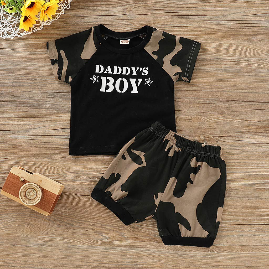 2d2d3fb4a1dd Amazon.com  0-4T Little Kids Baby Boys Clothes Set Summer Letter Print  T-Shirt Vest Tops and Camouflage Shorts 2Pcs Outfits  Clothing