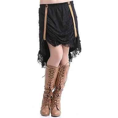 Crazyinlove Mujer de Falda de Encaje Negro Large: Amazon.es: Ropa ...