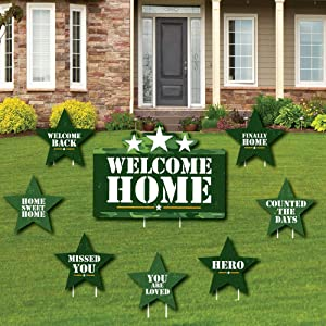 Welcome Home Hero - Yard Sign and Outdoor Lawn Decorations - Military Army Homecoming Yard Signs - Set of 8